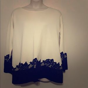 Talbots Black and Cream Sweater with Lace Detail